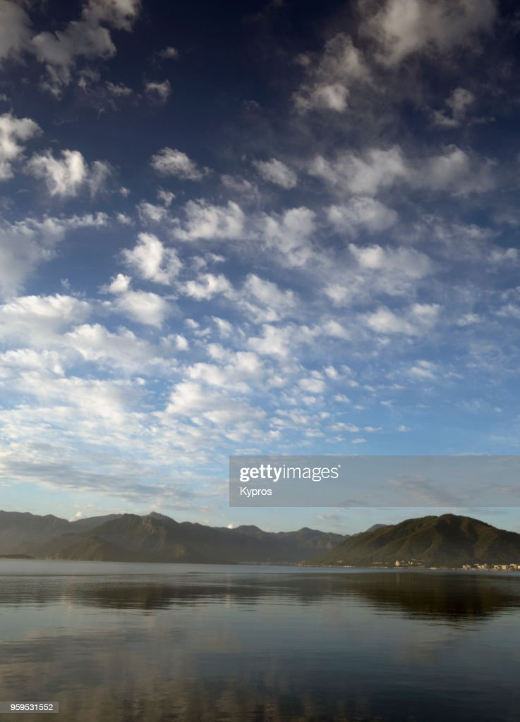Asia, Turkey, Marmaris Area, 2018: View Of  Seascape With Reflections Of On Flat Sea : Stock-Foto