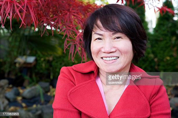 Asian Adult Woman Portrait Outside, Copy Space