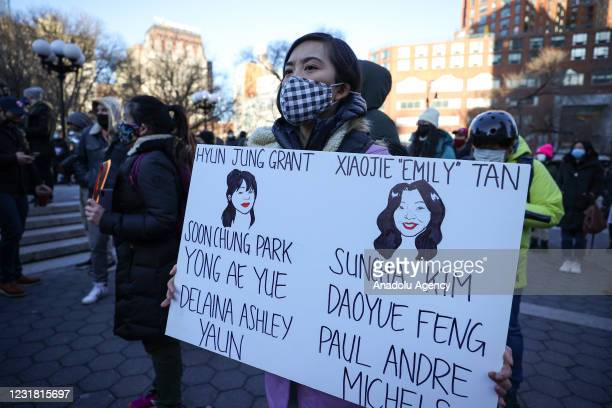 Asian Americans and New Yorkers are gathered for a peace vigil for Atlanta Spa shooting victims of Asian hate at the Union Square in New York City,...
