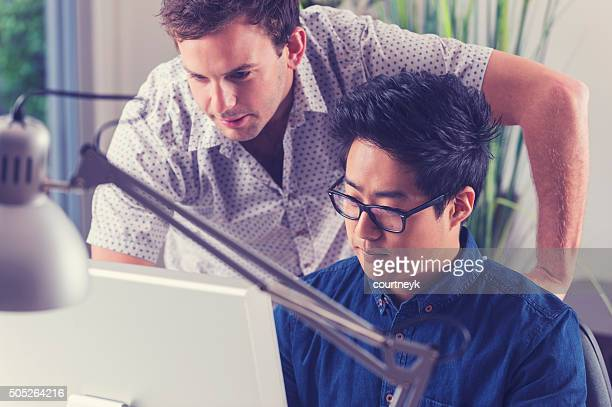 Asian and Caucasian men working together looking at computer.