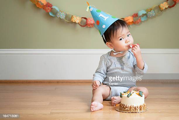 Asian baby celebrating his First Birthday