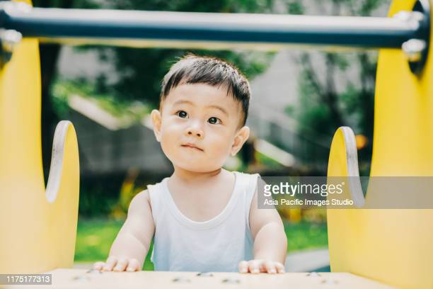 asian baby is playing outside. - baby boys stock pictures, royalty-free photos & images