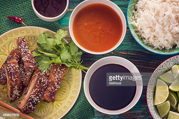 asian bbq ribs with sesame - soy sauce stock pictures, royalty-free photos & images