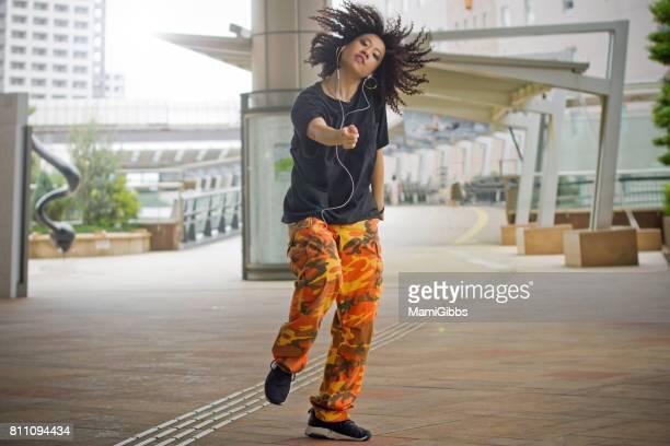 Asian beautiful dancer dancing street
