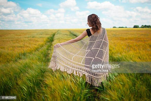 asian beautiful girl with knitted shawl in wheat feald - shawl stock photos and pictures