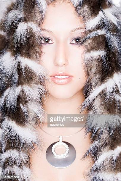 asian beautiful mixed young woman modeling fur and necklace - inuit stock pictures, royalty-free photos & images