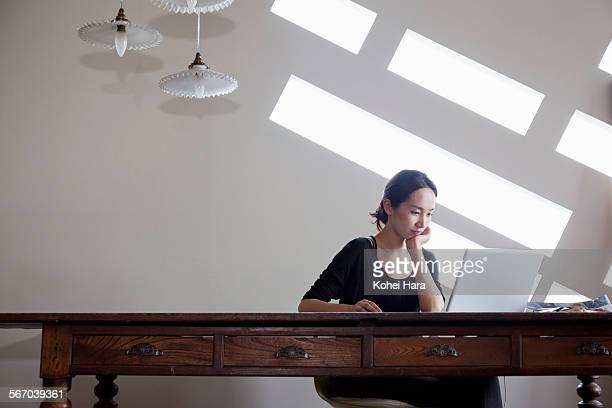 """asian beautiful woman working at home - leanincollection """"working mom"""" stock pictures, royalty-free photos & images"""