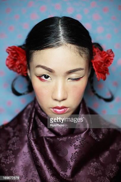 asian beauty - 髪の分け目 ストックフォトと画像