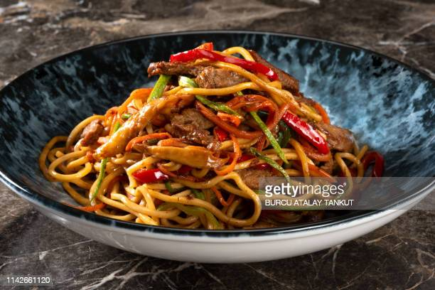 asian beef noodles - noodles stock pictures, royalty-free photos & images