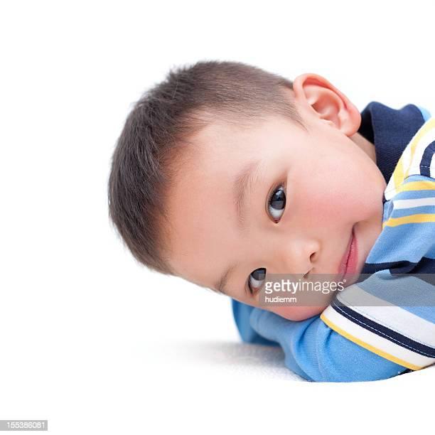 Asian boy isolated on white background