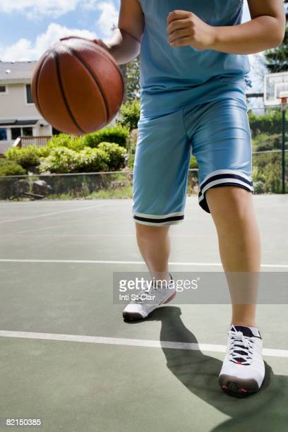 Asian boy playing basketball