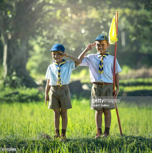 asian boy scout - boy scout stock photos and pictures
