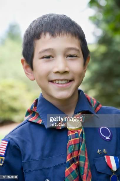 Asian boy wearing uniform