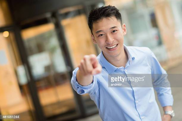 asian business man pointing at the camera - pointing at camera stock photos and pictures
