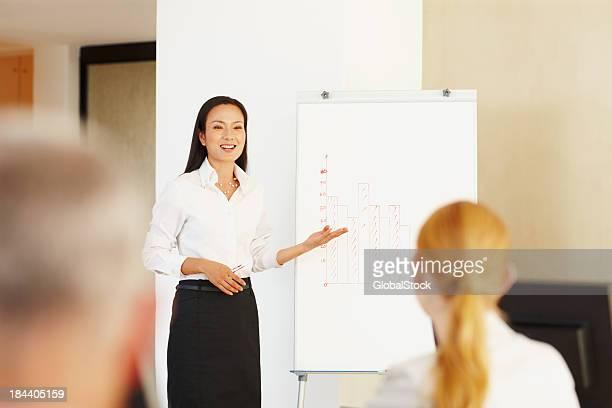 Asiatisches Geschäftsfrau im Büro präsentieren