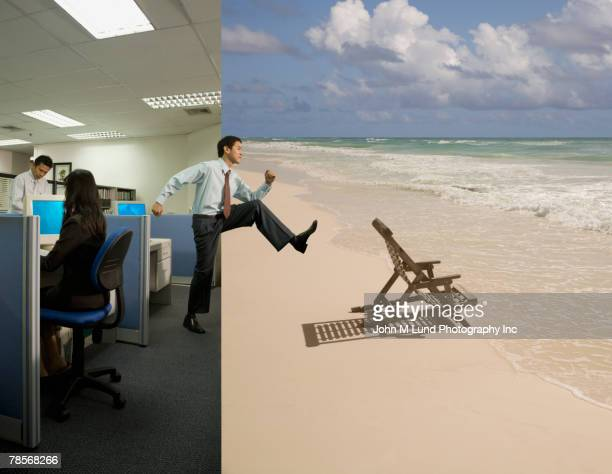 asian businessman stepping from office to beach - escapism stock pictures, royalty-free photos & images