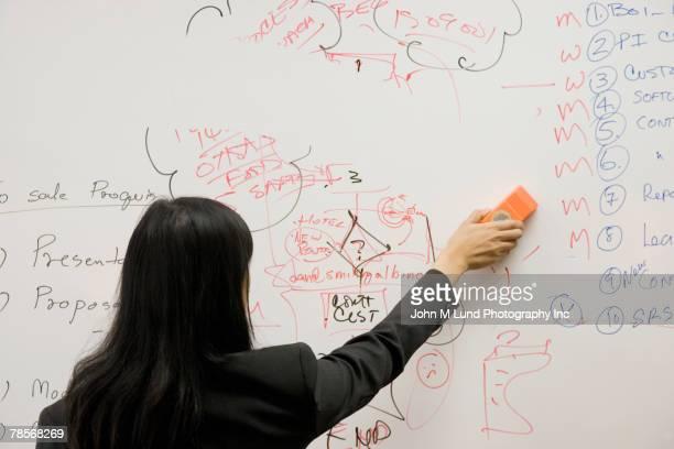 asian businesswoman erasing whiteboard - eraser stock pictures, royalty-free photos & images