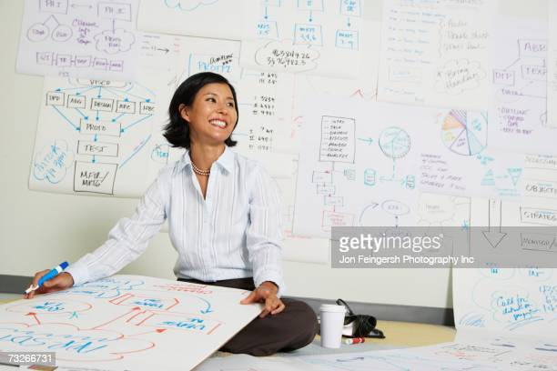 Asian businesswoman working on flow chart