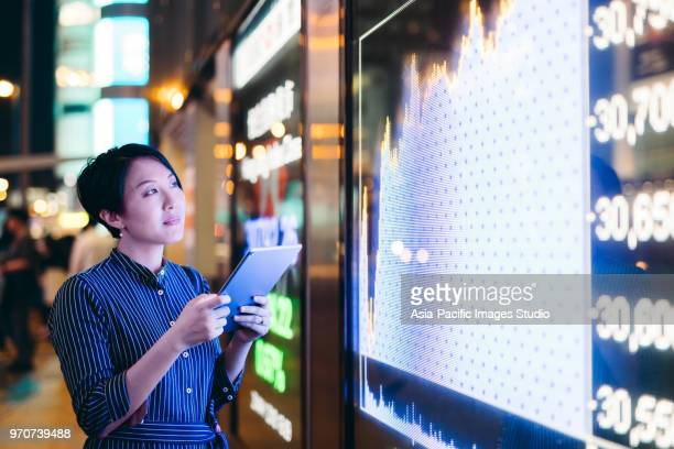 Asian businesswomen checking stock market data on tablet before Hong Kong financial display board