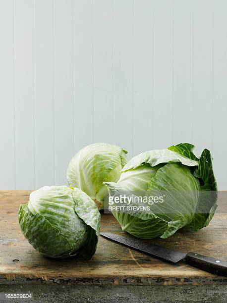 Asian cabbage on cutting board