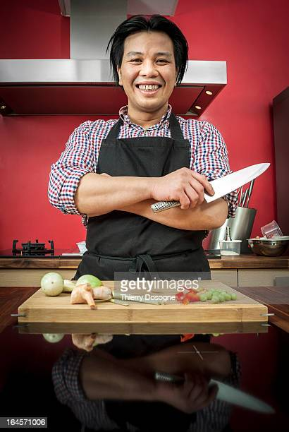 asian chef - kitchen knife stock photos and pictures