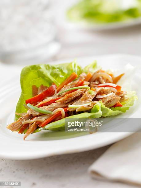 asian chicken lettuce wrap - lettuce stock pictures, royalty-free photos & images