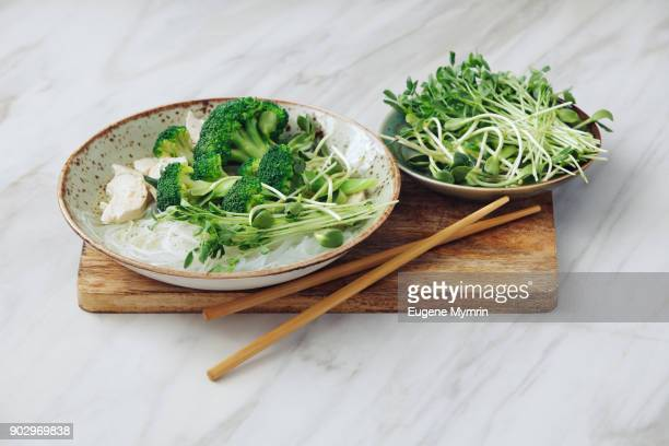 asian chicken noodle soup - soup bowl stock pictures, royalty-free photos & images