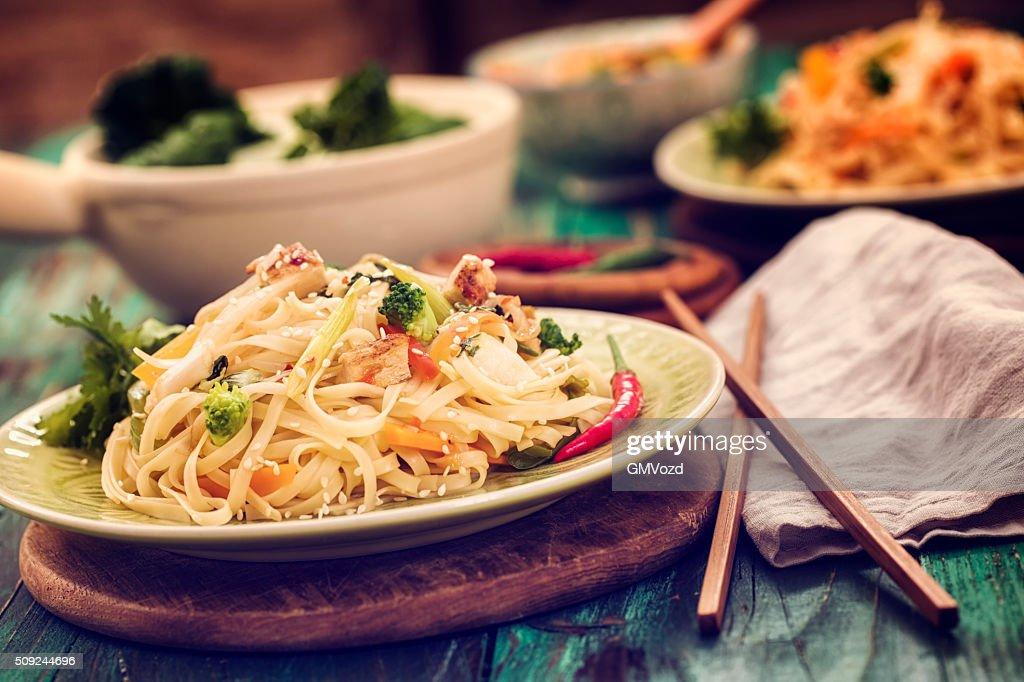 Asian Chicken Noodles Stir Fry : Stock Photo