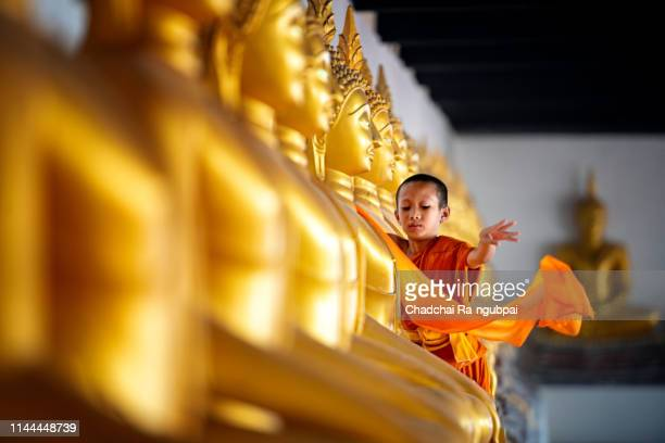 asian children novices are covering cloth, buddha are buddhist culture. - place of worship stock pictures, royalty-free photos & images