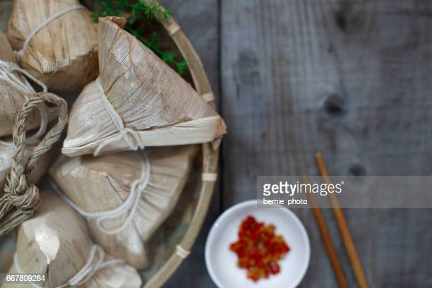 Asian Chinese Rice Dumpling Aerial View background