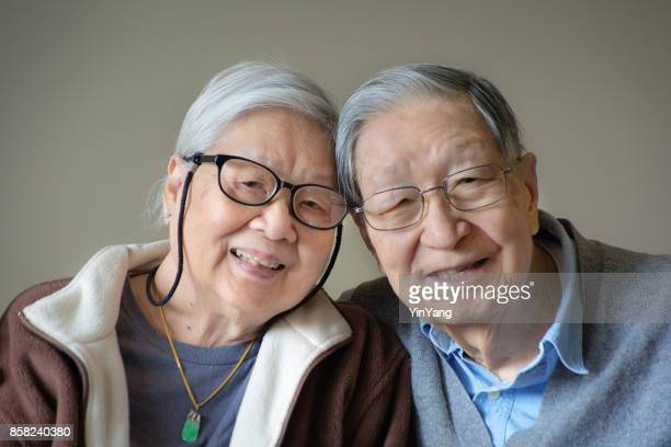 Asian Chinese Senior Couple Indoor Portrait