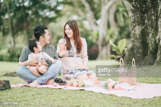 asiática china joven familia disfrutando de tiempo de picnic al aire libre durante el fin de semana - asia sudoriental fotografías e imágenes de stock