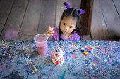 asian cute little girl having fun