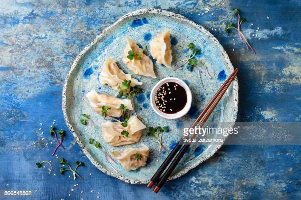 Asian dumplings with soy sauce, sesame seeds and microgreens. Traditional chinese dim sum dumplings. Copy space, flat lay