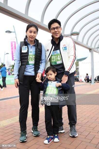 Asian eSports Federation president Kenneth Fok his wife Guo Jingjing and their son Lawrence Fok take part in 'Family Run' as part of Standard...