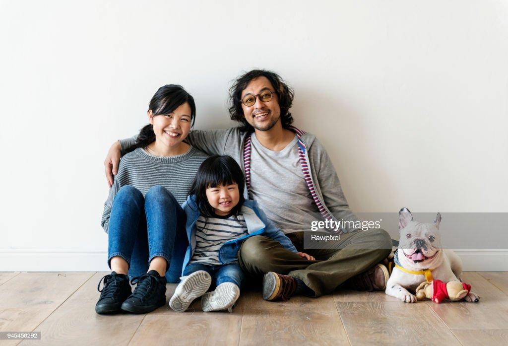 Asian family buy new house : Stock Photo