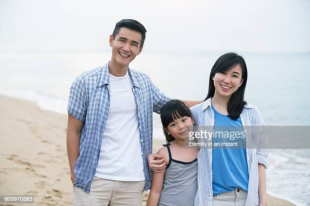 Asian family playing on the beach.