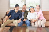 asian family with senior parents two
