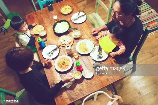 aziatisch boeren huishoudelijk diner met hoge hoek uitzicht - evening meal stockfoto's en -beelden