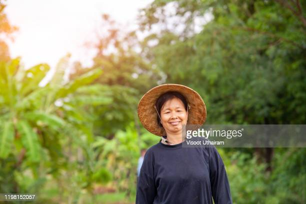 asian farmers female stand looking camera with smiling faces. - sober leven stockfoto's en -beelden