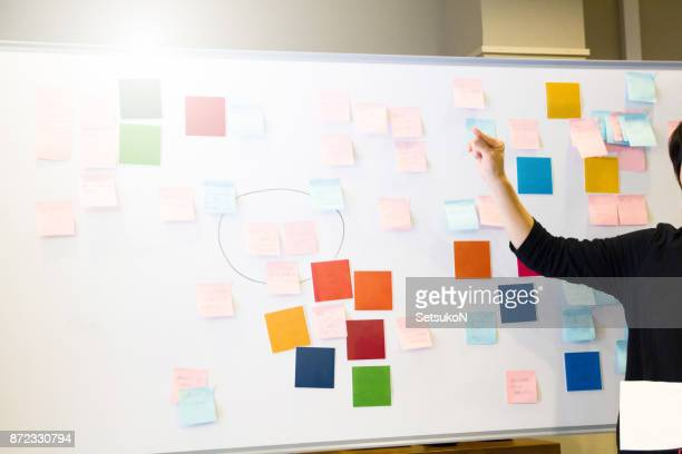Asian female executive brainstorming with adhesive note