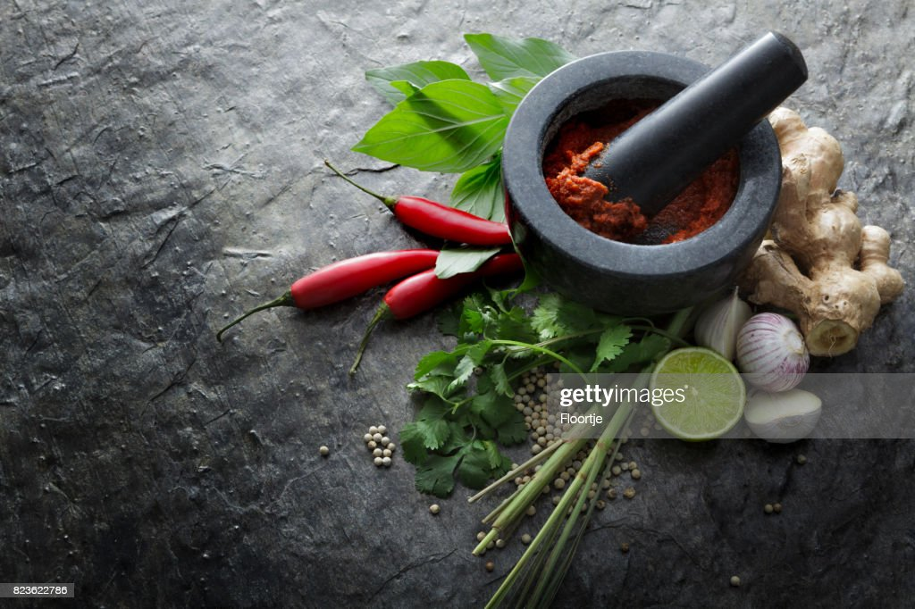 Asian Food: Ingredients for Thai Red Curry Still Life : Stock Photo
