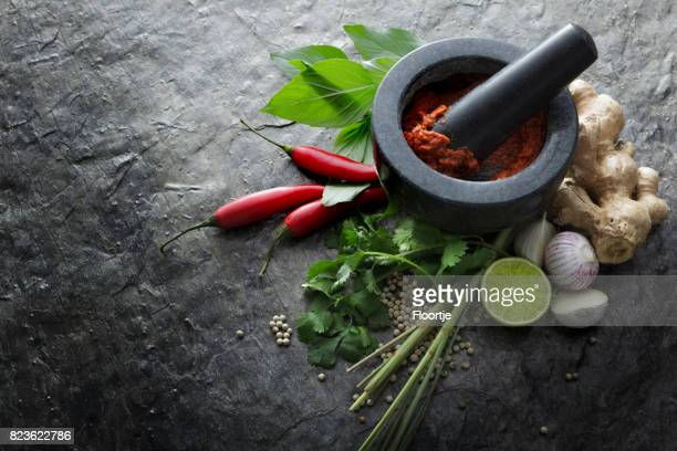 Asian Food: Ingredients for Thai Red Curry Still Life