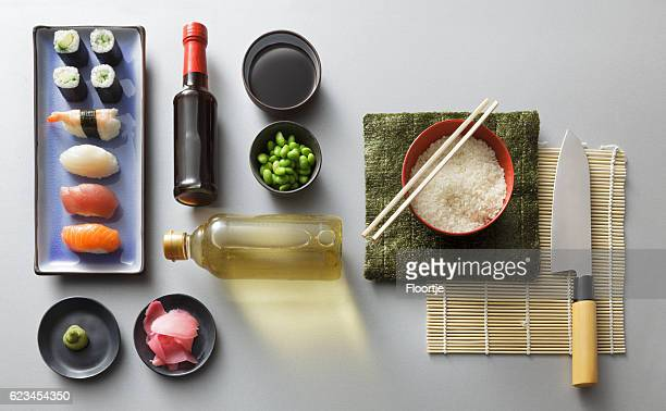 Sushi stock photos and pictures getty images for Asian cuisine ingredients