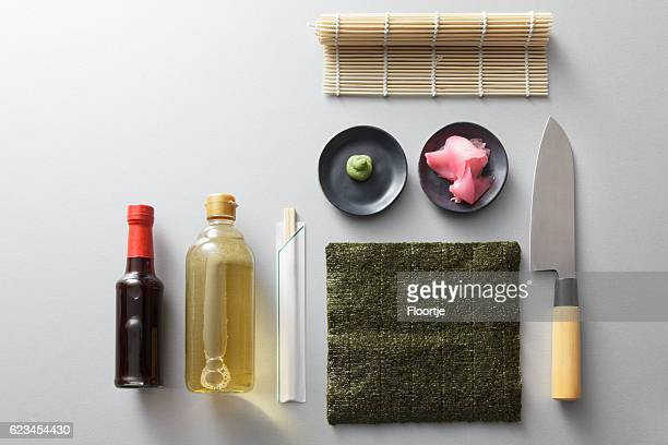 asian food: sushi ingredients still life - nori stock pictures, royalty-free photos & images