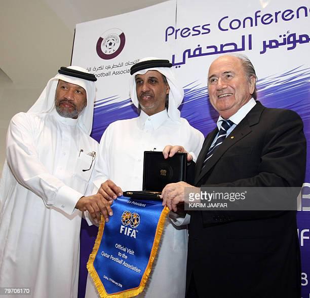 Asian Football Confederation president Mohammed bin Hammam and Sheikh Hamad bin Khalifa bin Ahmed al-Thani , president of Qatar Football Federation,...