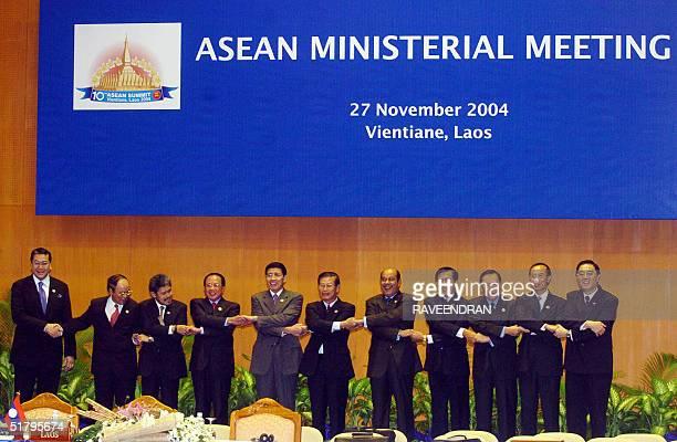 Asian foreign ministers Brunei's Prince Mohamed Bolkiah Indonesian Hassan Wirajuda Malaysian Datuk Seri Hamid Albar Philippines' Edsel Custodio Thai...
