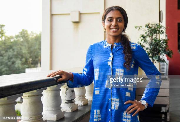 Asian Games Bronze Medalist Tennis player Ankita Raina on August 29 2018 in Pune India