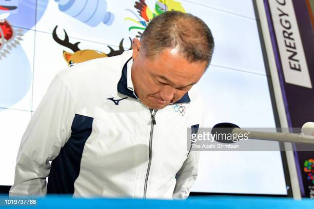 Asian Games Japanese delegation Chef de Mission Yasuhiro Yamashita leaves after a press conference at the Main Press Center on day two of the Asian...