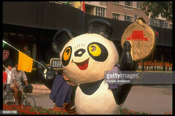 Asian Games panda mascot lifesize figure holding sway on Beijing st1990AMES